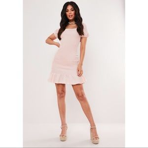 Missguided Peach Puff Sleeve Smocked Dress US4 NWT